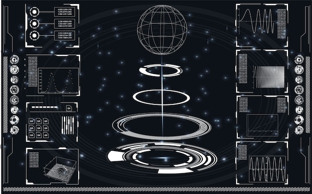 Conjunto de elementos de infográfico em preto e branco