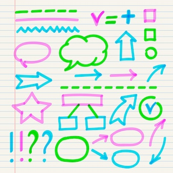 Conjunto de elementos de infográfico escolar com marcadores coloridos
