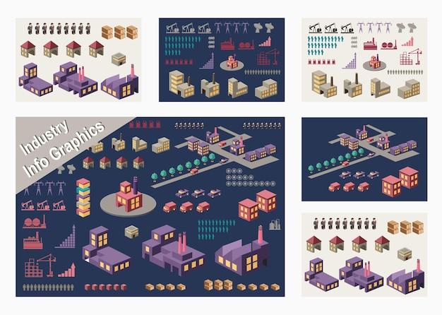 Conjunto de elementos de infográfico para tema urbano e industrial