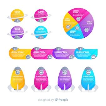 Conjunto de elementos de infográficos de negócios gradiente