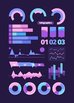 Conjunto de elementos de infográficos. infográfico símbolo torta onda diagrama de negócios tracejado gráfico de oscilação digital ondas apresentação web estatísticas modernas.