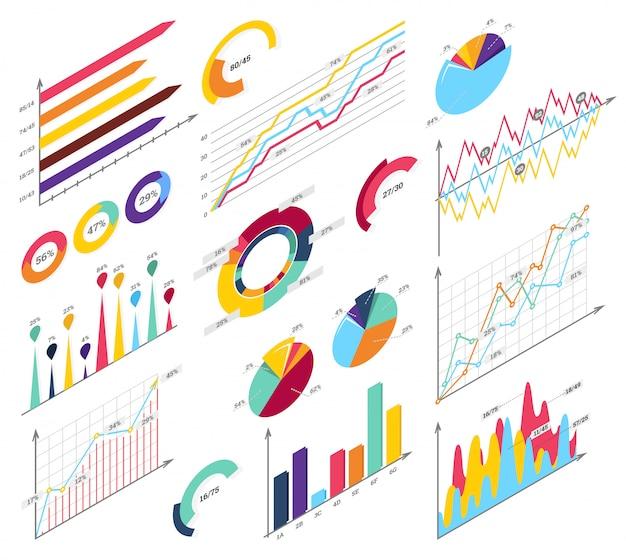 Conjunto de elementos de infográficos isométricos