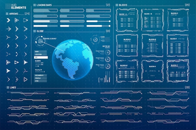 Conjunto de elementos de infográficos para interfaces hud sci fi