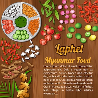 Conjunto de elementos de ingredientes alimentares da asean national
