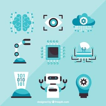 Conjunto de elementos de inteligência artificial em design plano