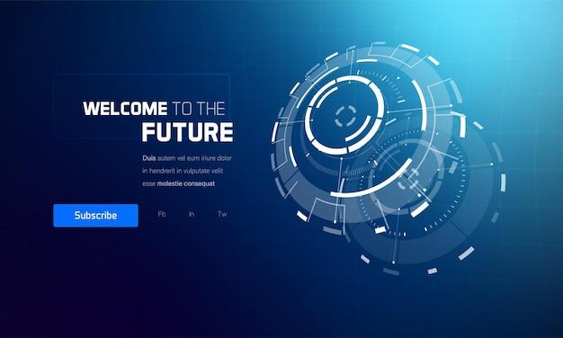 Conjunto de elementos de interface de hud de tecnologia futurista 3d.