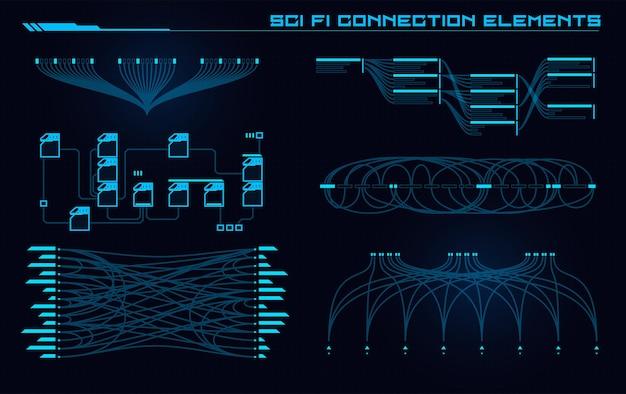 Conjunto de elementos de interface do usuário de sci fi modern futuristic abstract hud
