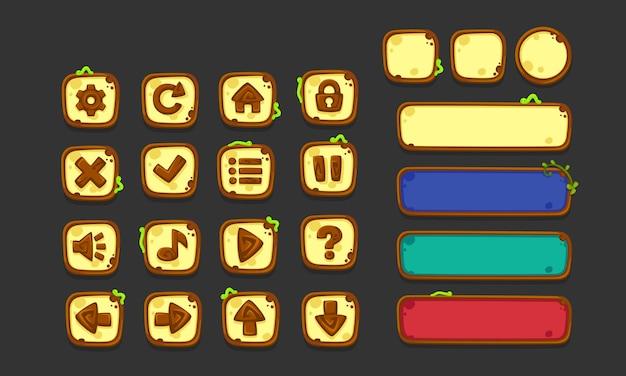Conjunto de elementos de interface do usuário para jogos e aplicativos 2d, jungle game ui part 1