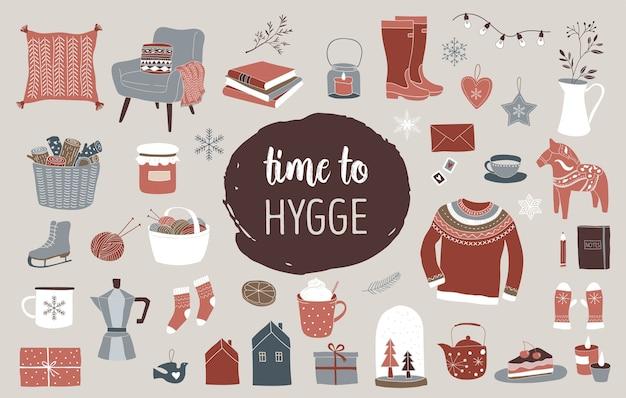 Conjunto de elementos de inverno nórdico e escandinavo e o conceito hygge, ícones de feliz natal