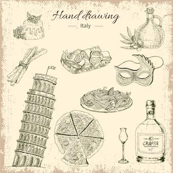 Conjunto de elementos de itália de desenho de mão