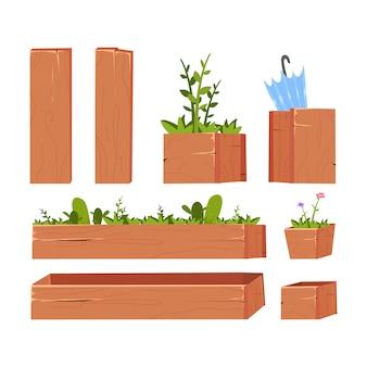 Conjunto de elementos de jardim. caixas de madeira