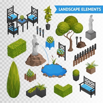 Conjunto de elementos de jardim park transperent