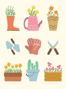 Conjunto de elementos de jardinagem da primavera com design plano floral fofo