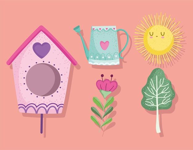 Conjunto de elementos de jardinagem