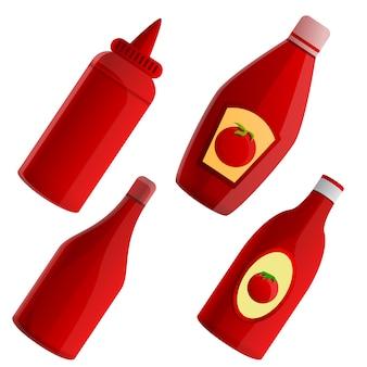 Conjunto de elementos de ketchup, estilo cartoon