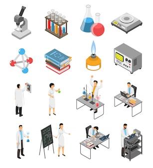 Conjunto de elementos de laboratório científico