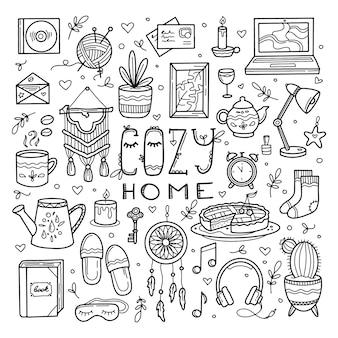 Conjunto de elementos de lar aconchegante e doce no estilo de desenho à mão doodle