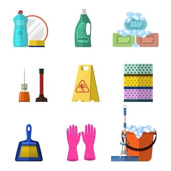 Conjunto de elementos de limpeza com sabonete e luvas de esfregão, balde de plástico vermelho, produtos de limpeza em frasco para chão e vidro.