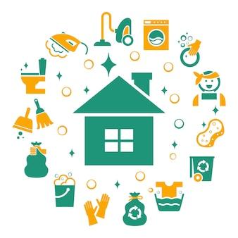 Conjunto de elementos de limpeza doméstica.