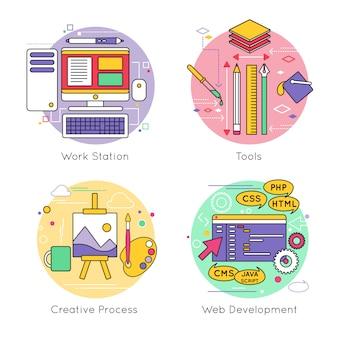 Conjunto de elementos de linha de design web