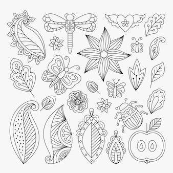 Conjunto de elementos de linha floral