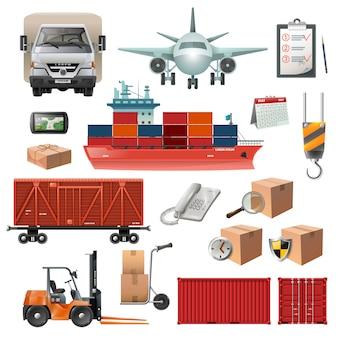 Conjunto de elementos de logística