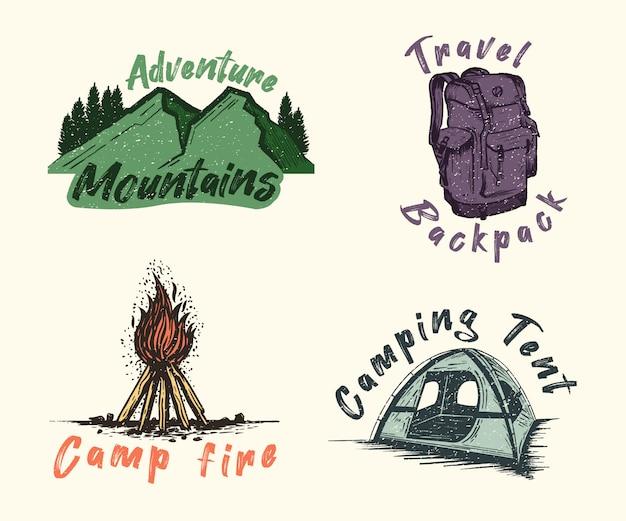 Conjunto de elementos de logotipo de aventura desenhada de mão