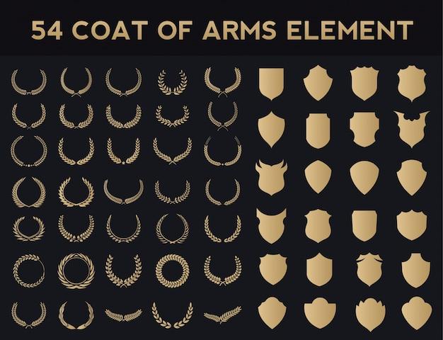 Conjunto de elementos de logotipo de crests. logotipo heráldico, grinaldas de louro vintage, elementos de design de logotipo