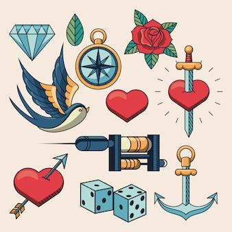 Conjunto de elementos de logotipo de estúdio de tatuagem