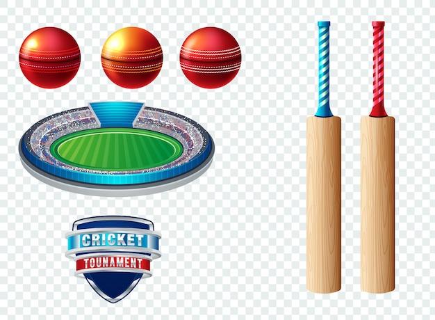 Conjunto de elementos de logotipo de modelo de esportes de críquete