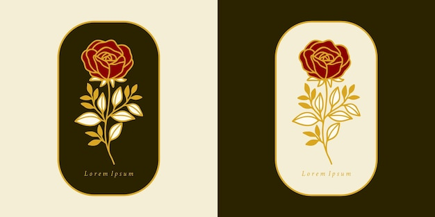 Conjunto de elementos de logotipo de ramo de folha e flor rosa botânica desenhada à mão