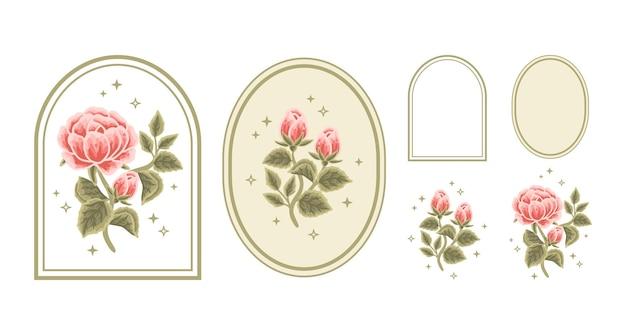 Conjunto de elementos de logotipo de rótulo floral vintage beleza feminina peônia rosa com moldura para mulheres