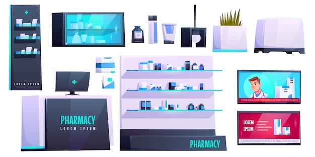 Conjunto de elementos de loja de farmácia