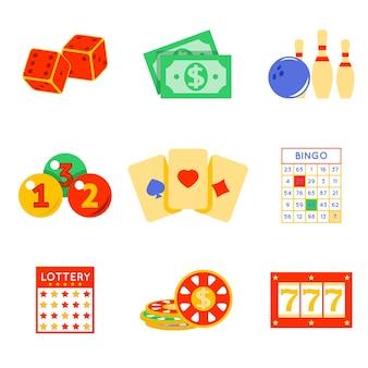 Conjunto de elementos de loteria. risco e carta, sorte e jogo