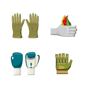Conjunto de elementos de luvas. caricatura, jogo, de, luvas