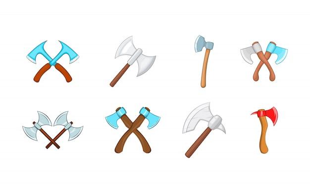 Conjunto de elementos de machado. conjunto de desenhos animados de elementos do vetor de machado