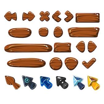 Conjunto de elementos de madeira web dos desenhos animados