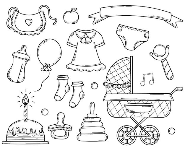 Conjunto de elementos de mão desenhada doodle para um bebê recém-nascido no estilo de desenho.