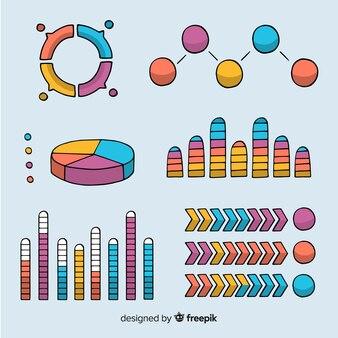 Conjunto de elementos de mão desenhada infográfico