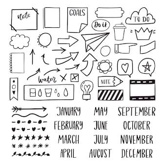 Conjunto de elementos de marcador de diário