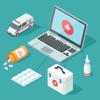 Conjunto de elementos de medicina on-line