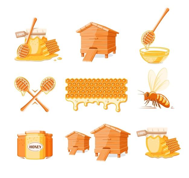 Conjunto de elementos de mel isolado no branco