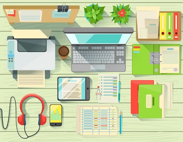 Conjunto de elementos de mesa de escritório moderno vista de cima