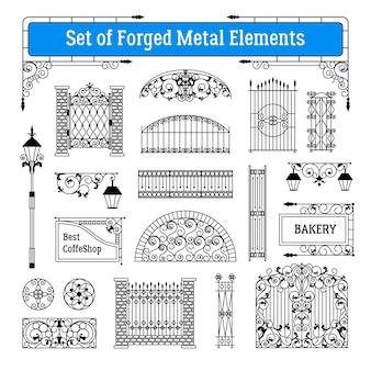 Conjunto de elementos de metal forjado