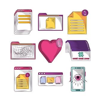 Conjunto de elementos de mídia social e site
