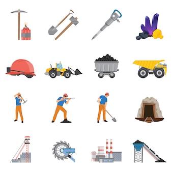 Conjunto de elementos de mineração de minerais