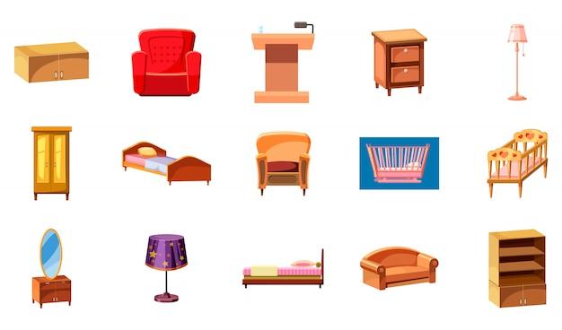 Conjunto de elementos de mobiliário. caricatura, jogo, de, mobília