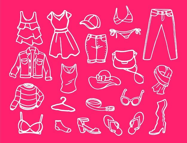 Conjunto de elementos de moda para mulheres