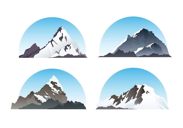 Conjunto de elementos de montanha e natureza ilustração de neve