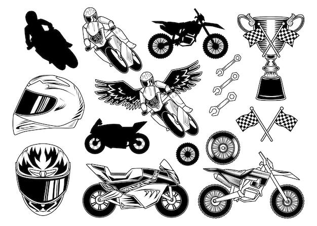 Conjunto de elementos de motocicleta